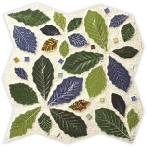 お庭 タイル フォグリアシート 葉っぱ形状  赤茶系 青緑系の全2色|dreamaki
