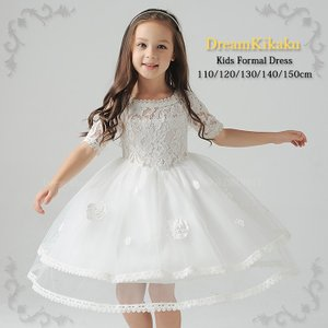 子供ドレス 発表会 パニエ内蔵 結婚式 上質 レース ドレス フラワーガールズ ドレス