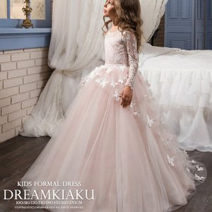 高級子供ドレス ホワイトレースにパステルカラーのチュールがエレガントなスカラップ刺繍ドレス ピンクゴ...