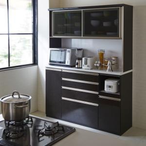 食器棚 レンジ台 レンジボード 完成品 引き戸 引戸 幅150cm  ブラック黒木目  木製 モダン 設置無料|dreamrand