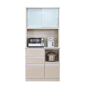 食器棚 レンジ台 完成品 引き戸 幅90cm おしゃれ 送料無料|dreamrand