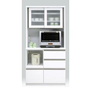 食器棚 レンジ台 完成品 引き戸 幅90cm ホワイト 白 おしゃれ 送料無料|dreamrand