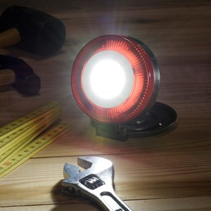 LED多目的作業ライト(200 lm/単4形×3本付属/連続点灯時間6時間)白色LED×5個、赤色LED×8個 固定用マグネット、吊り下げフック付 dreamrelife-store