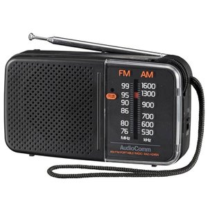 スタミナハンディラジオ(ブラック)RAD-H245N 電池長持ち 同調ランプ機能付 ハンド ストラップ付|dreamrelife-store