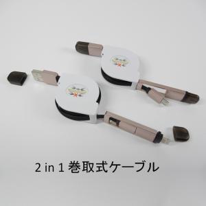 2in1巻き取り式 MicroUSB/LightningコネクターUSB 収納ホルダー付 ブラック 1m |dreamrelife-store