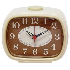 アナログ アラーム クロック アイボリー 400857801 目覚まし時計 単3形乾電池×1本 静かな連続秒針|dreamrelifeshop2