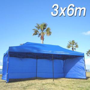 タープテント 6x3m 3面 大型テント 横幕付 日除け 頑...