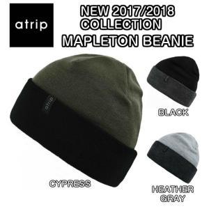 atrip アトリップ MAPLETON BEANIE ビーニー ロゴ ラベル ニットキャップ スノーウェア スノーボード ウェア メンズ  2017/2018 モデル 正規品|dreamy1117
