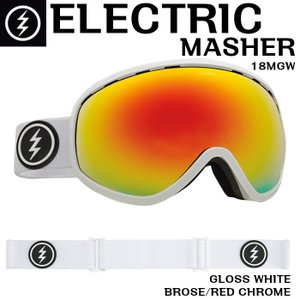 ELECTRIC 17-18 MASHER GLOSS WHITE 18MGW エレクトリック マッシャー ゴーグル Goggle BROSE/RED CHROME BROSEレンズ 正規品|dreamy1117