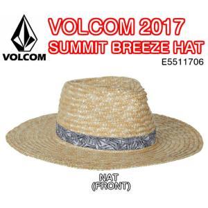 VOLCOM ボルコム SUMMIT BREEZE HAT E5511706 NAT ペーパーストロー STONE メタルラベル 麦わら帽子 オリジナルプリントベルト 2017モデル 正規品|dreamy1117
