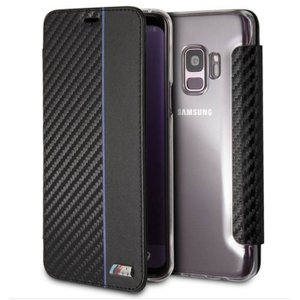 Samusung Galaxy S9 ギャラクシー S9 用 手帳型 ケース カバー BMW ビーエムダブリュー  カーボン調ブラック ネイビーライン エアージェイ BMBKTRS9CAPNBK|dresma