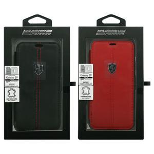 フェラーリ 公式ライセンス Galaxy S9 本革+TPU 手帳型ケース ブックタイプ カーブランド エアージェイ FEHDEFLBKS9|dresma