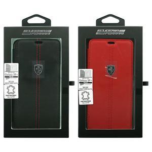フェラーリ 公式ライセンス Galaxy S9 Plus 本革+TPU 手帳型ケース ブックタイプ カーブランド エアージェイ FEHDEFLBKS9L|dresma
