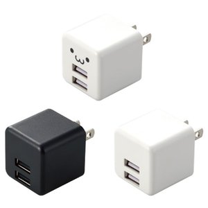 あすつく AC充電器 2.4A 12W USB Type-Aポート×2 コンパクト 急速充電 エレコム MPA-ACU11|dresma
