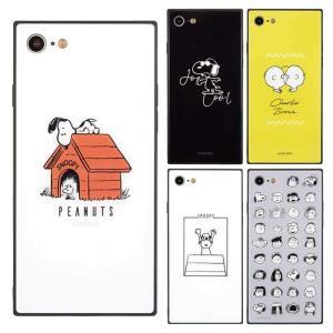 iPhoneSE iPhone8/7 対応 ケース PEANUTS ピーナッツ スクエアガラスケース|dresma
