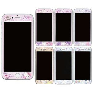 iPhoneSE 第2世代 iPhone8/7/6s/6/SE 対応 ガラススクリーンプロテクター サンリオキャラクターズ 保護ガラス 硬度9H|dresma