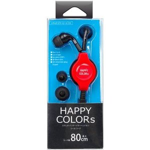 PGA ステレオインナーイヤーヘッドフォン リールコードAVパッケージ レッド 製品型番:PG-SIH22RD|dresma