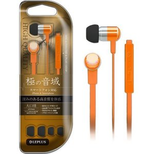 LEPLUS iPhone/スマートフォン イヤフォン(ボリューム/マイク付) 「極の音域」 オレンジ LP-EPAOR|dresma