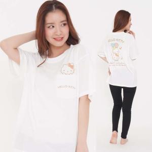 レディースサイズ 半袖Tシャツ タテノリキティ サンリオキャラクターズ Tシャツ プリントTシャツ|dresma