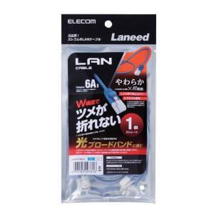 LANケーブル Cat6A準拠 1m 10Gbit 超高速 ツメ折れ防止 やわらかケーブル ブルー ...