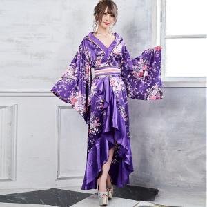 ■ポイントフロントフリルデザインの花魁着物ロングドレスです。お店の制服、舞台衣装、コスプレイベントに...