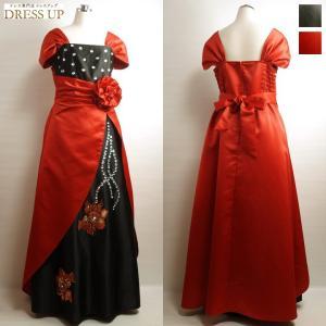 e5ed1e6acb5f6 カラードレス ロングドレス 赤黒 大きいサイズ ステージ衣装 袖あり 3Lサイズ 13〜19