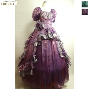 光沢あるサテン地が綺麗なボリューム姫ドレス  バルーンお袖が腕をすっきり細身に見せてくれます。  大...
