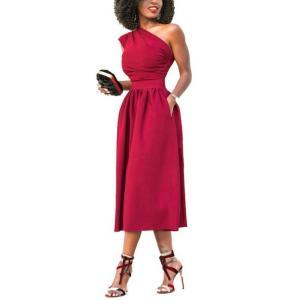 ワイド フレア ドレス ワンピース ミディ丈 ファッション デザイン 赤|dressheaven