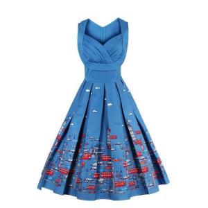ラブリー ロンドン 市 プリント 大きいサイズ オードリー スイングドレス ワンピース ノースリーブ ファッション|dressheaven