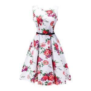 花柄 プリーツ ウエスト ベルト ドレス ワンピース ボートネック ガールズ ファッション|dressheaven