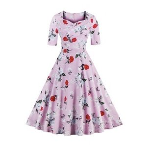 花柄 ヴィンテージ ドレス ワンピース 半袖 ファッション  ピンク|dressheaven