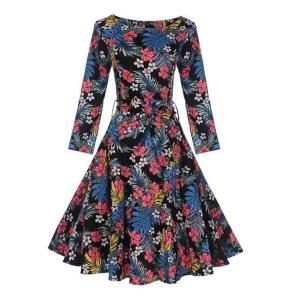 1950 プリント Aライン カクテルドレス ワンピース ラウンドネック スリム フィット 赤|dressheaven