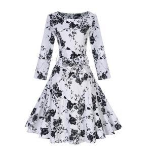 プリント 長袖 ヘップバーン スタイル ホワイト スイングドレス ワンピース ナチュラル フィット 白|dressheaven