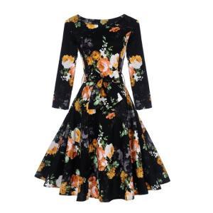 花 ベルトスケータードレス ワンピース 膝丈 フレア裾  黒|dressheaven