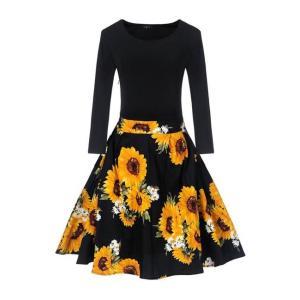 ひまわり プリント フィット トップ フレア デート ドレス ワンピース 膝丈  ファッション 黒|dressheaven