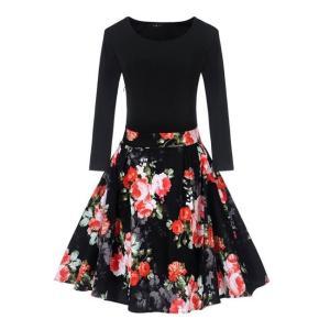 花柄 プリント パーティ ドレス ワンピース ワイド フレア裾 ファッション デザイン 赤|dressheaven