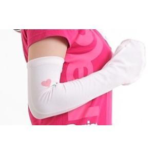 UVカット腕カバー 紫外線防止用ハンド&アームカバー 手の平オープン 機能性素材使用手の甲腕カバー ロング丈 ウォーターピンク|dressmask-drema