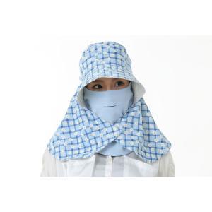 UVカットフェイスマスク 紫外線防止用ドレスマスク お肌に優しいストレスフリー スリット開楽呼吸 光触媒・高機能素材二重仕立 スカイブルー/トゥルーネイビー|dressmask-drema