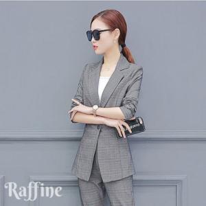 8ba99c7ecfd25b パンツスーツ レディース おしゃれ セットアップ 韓国 グレー カーキ グレンチェック S-XL クロップド ファッション ツーピース スーツ  フォーマル T0048005