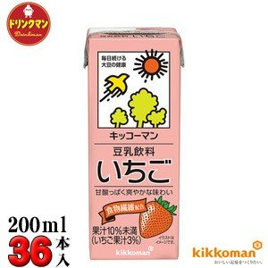 キッコーマン 豆乳飲料 いちご 200ml×18本×2箱(36本) 【梱包C】
