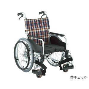 松永製作所7-2194-03自動ブレーキ装置付車いす(アルミ製自走式)グリーンチェック380mm【個】(as1-7-2194-03) drmart-2