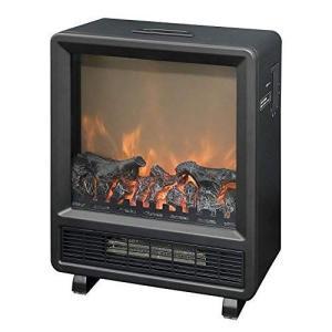山善 暖炉型ヒーター 疑似炎 アンティーク レトロ コンパクト ブラック YDH-J10(B) [メーカー保証1年]の画像