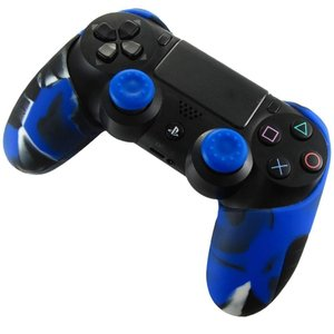 BlueFire コントローラー シリコン カバー スキンシール ケース PS4 プレイステーション4 対応用 交換用 ハンドル帽 2個付け (ブルー)|dsky