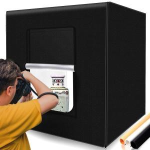 撮影キット SAMTIAN 80x80x80cm 超大型撮影ボックス スタジオボックス プロな撮影セット 超高輝度12000ルーメ126個SMDライト 調光器付き マルチアングル撮影可能|dsky