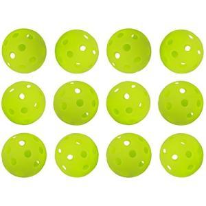 野球バッティングトレーニングボール 穴あき PE素材 蛍光緑 42mm 12個入り|dstyleshop