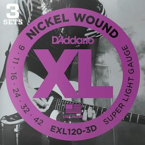3セットパック・D'Addario EXL120-3D Nickel Wound 009-042 ダダリオ エレキギター弦|dt-g-s