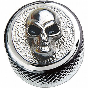 Q-Parts Dome Knob Angry Skull-Metal Chrome KCD-0119 インチ/ミリ共用 Qパーツノブ|dt-g-s