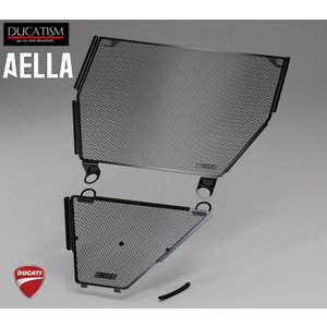 AELLA DUCATI Panigale V4 ラジエター&オイルクーラーガード (ブラック) パニガーレV4 ドゥカティ AE-56135-BK|ducatism