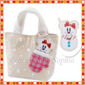 ミニーマウス(スノー) パスケース付きトートバッグ スノー ディズニークリスマス 2019 雪だるま ディズニー グッズ お土産(東京ディズニーリゾート限定)|duffy-0080