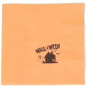 4面折り ペーパーナプキン オレンジ (ハロウィーン柄) 125枚入り|duni